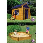 Wooden Playhouse and Large Octagonal Sandpit
